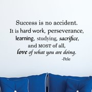Belvedere Designs LLC Success Is No Accident Pele Wall Quotes  Decal