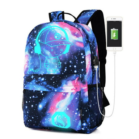 Galaxy fashion School Bag Backpack Collection Canvas USB Charger for Teen Girls
