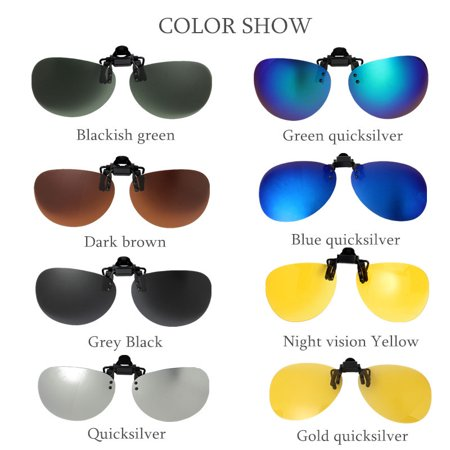 Fashion UV400 Polarized Sunglasses Clip-On Lens Clip Lenses Day Night Vision Flip Up Men Women Metal Eyewear For Outdoor Fishing (Sunglasses Uv400 Polarized Magnetic Clip)