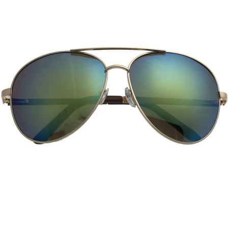 baf024b9f0b XL Extra Large Gold Frame Aviator Sunglasses Big Head Oversized Wide 62mm  Mirror Men