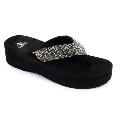 Corkys Womens Salvang Jeweled Flip Flop Sandal (8, Pewter)