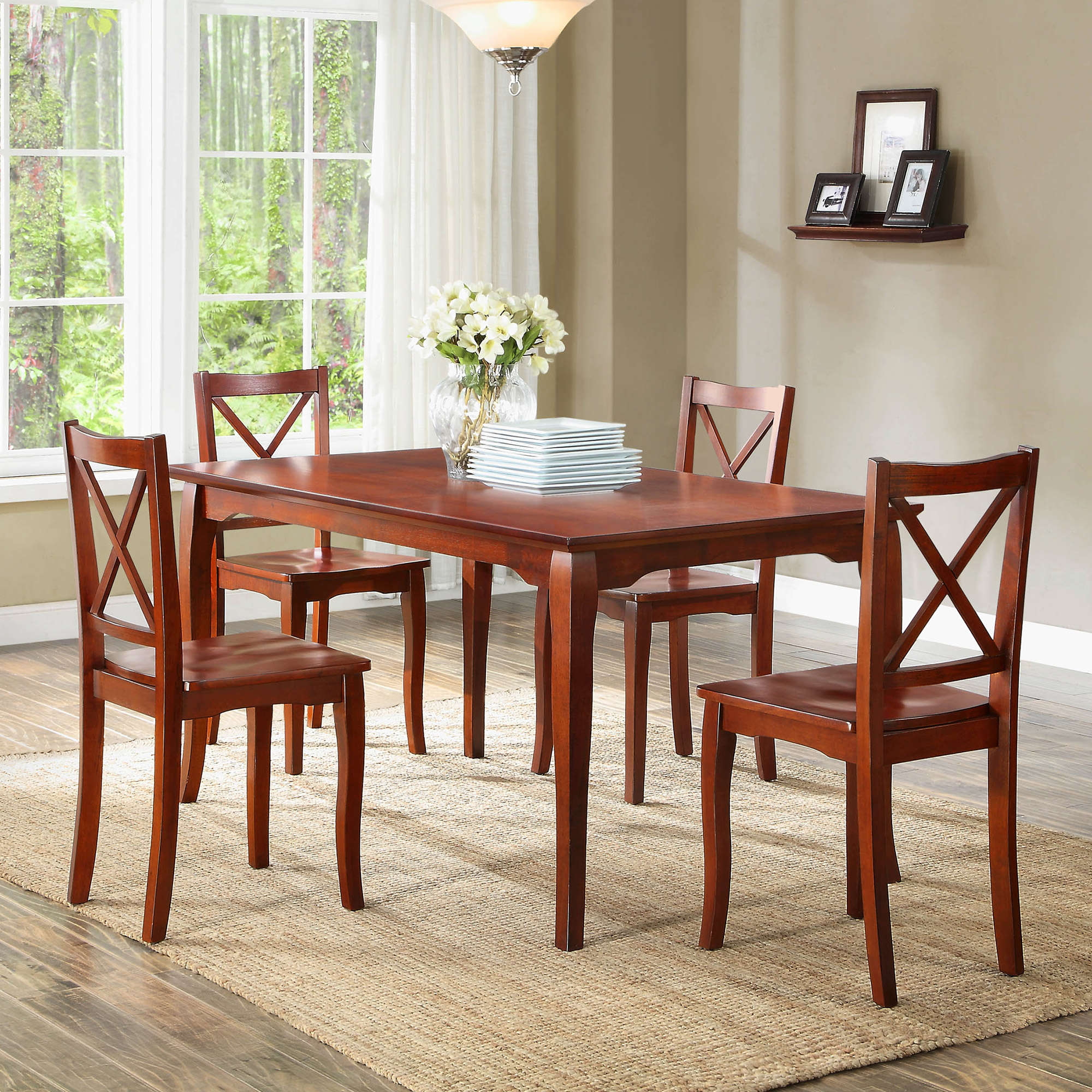 Cool Better Homes and Gardens Ashwood Road Piece Dining Set Brown Cherry Walmart