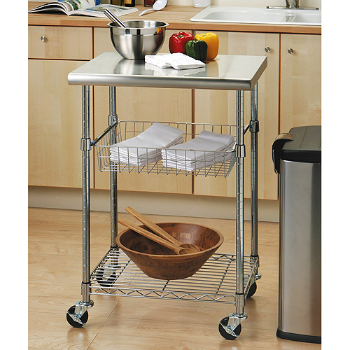 seville classics stainless steel top kitchen cart - walmart