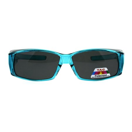 Polarized 53mm Translucent Plastic Narrow Rectangular Fit Over Sunglasses Teal](Teal Sunglasses)