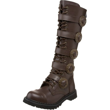 Steampunk Boots Men (mens sizing knee high boots brown combat boots steampunk)