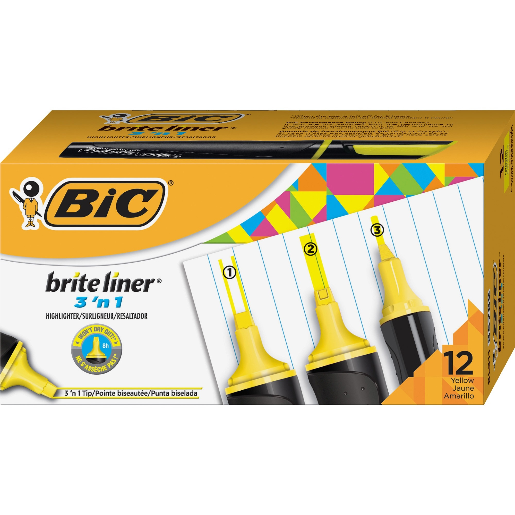 BIC Brite Liner 3'n-1 Highlighter (bl311yw)