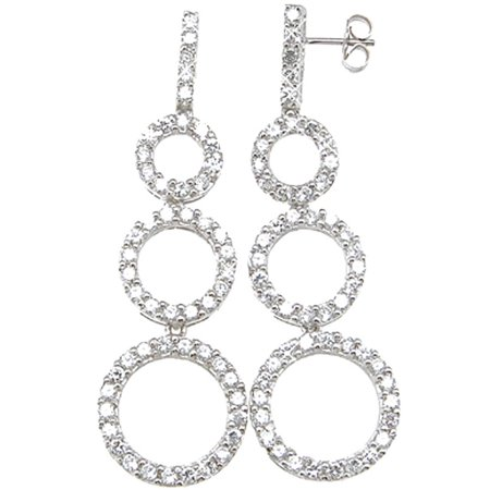 Plutus Sterling Silver Rhodium Finish Brilliant Tiffany Style Pave Earrings