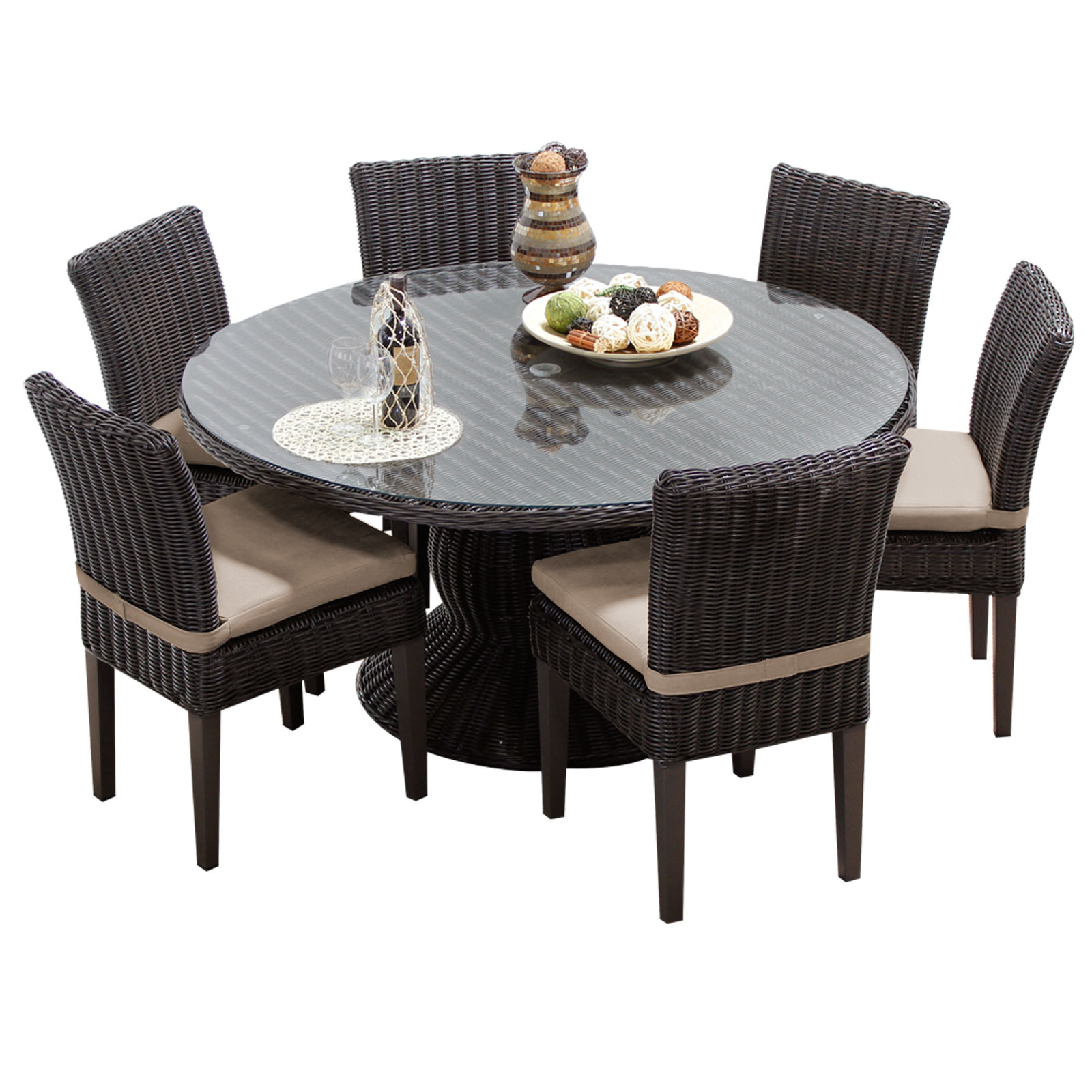 Rustico 60 Inch Outdoor Patio Dining Table With 6 Chairs