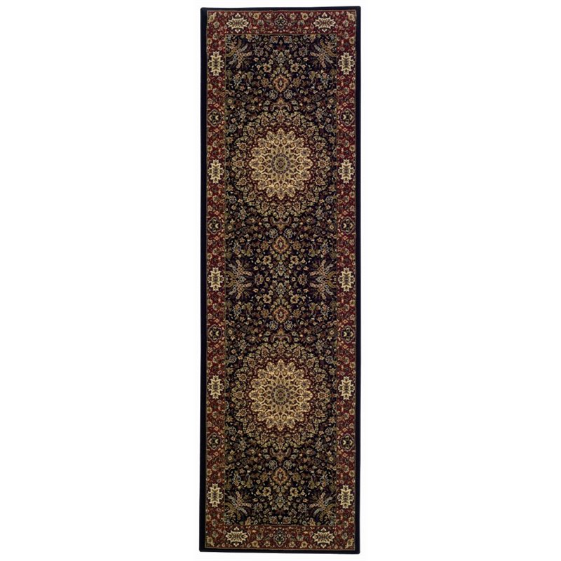 "Oriental Weavers Ariana 2'3"" x 7'9"" Machine Woven Runner Rug in Blue"