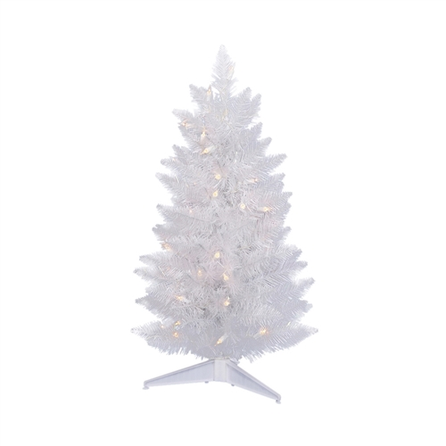 2 Ft White Christmas Tree: 2 Ft Pre-Lit Christmas Tree White, 57 Tips, UL 50 Warm