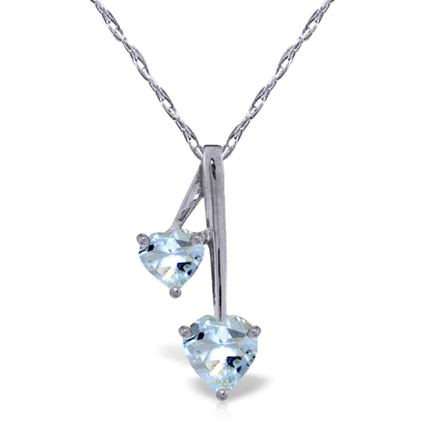 ALARRI 1.4 Carat 14K Solid White Gold Hearts Necklace Natural Aquamarine with 24 Inch Chain Length. by ALARRI