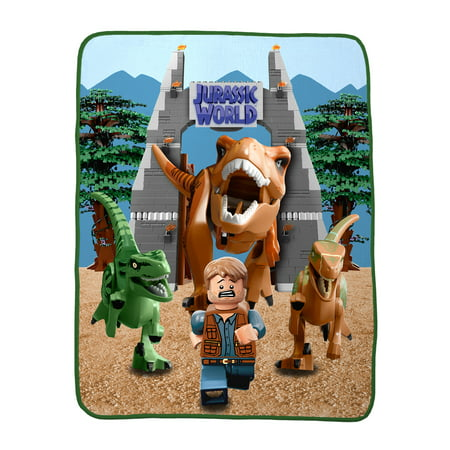 Lego Jurassic World Build & Run Kids Bedding, Silky Soft Throw, 1 (World's Best Travel Blanket)