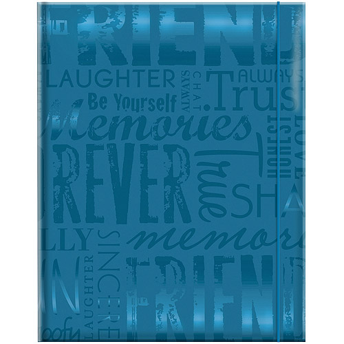 "Embossed Gloss Expressions 100-Pocket Photo Album, 4.75"" x 6.5"", Friends, Teal"