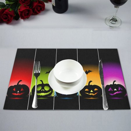 MYPOP Colorful Halloween Table Placemat Food Mat 12x18 Inches (Halloween Food Table Ideas)