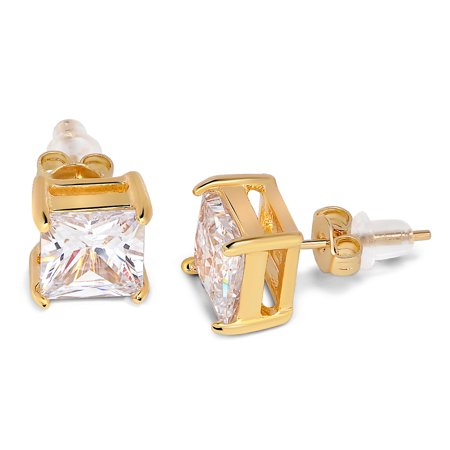 Stud Pouch - Buyless Fashion Girls Stud Earrings Additional Push Back Gold Squared Crystal CZ