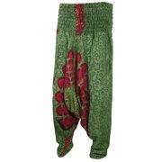 Mogul Womens Indian Alibaba Harem Pants Green Mandala Print Yoga Boho Hippie Romper Trousers