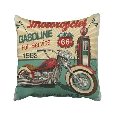 Route 66 Halloween Classic (ARTJIA Retro Vintage Gasoline Route 66 Classic Motorcycles Biker Moto Sign Garage Old Gas America Pillowcase Throw Pillow Cover Case 20x20)