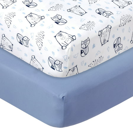 Little Star Organic 100% Pure Organic Cotton Fitted Jersey Crib Sheets, 2 Pk, Blue-Wild at Heart Safari Cotton Sheets