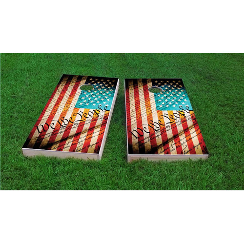 Custom Cornhole Boards Worn Flag We The People Light Weight Cornhole Game Set by Custom Cornhole Boards