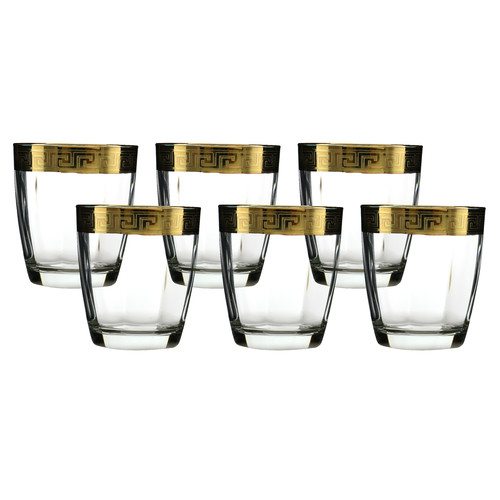 Three Star Im/Ex Inc. Double Old Fashion Glass with Versace Rim Decoration (Set of 6)