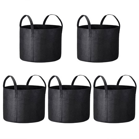 Yescom 5 Pack Grow Bags Fabric Pots Root Pouch with Handles Vegetable Planting Container Breathable 20 Gallon