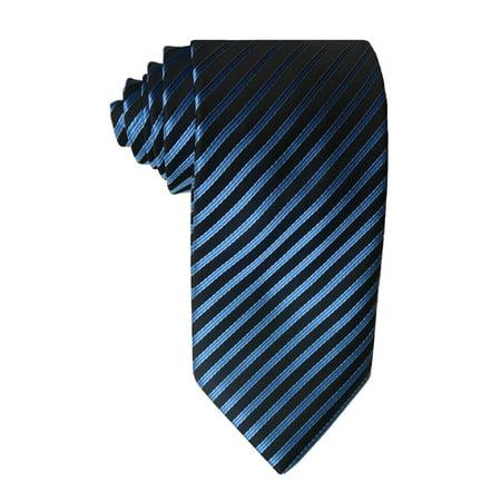 James Cavolini Italy Blue on Black Striped Neck Tie Blue Stripe Italian