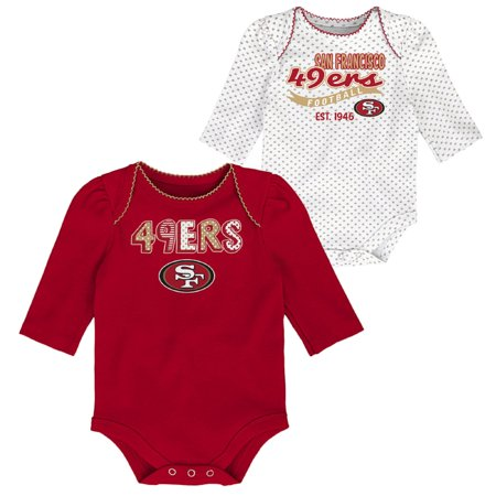 Girls Newborn & Infant Scarlet/White San Francisco 49ers 2-Pack Long Sleeve Bodysuits