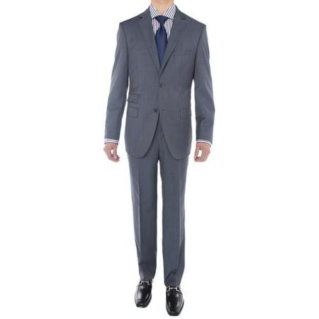 LN LUCIANO NATAZZI Men's Two Button Suit Side Vent Jacket Super 160'S Wool Suit Stone Blue