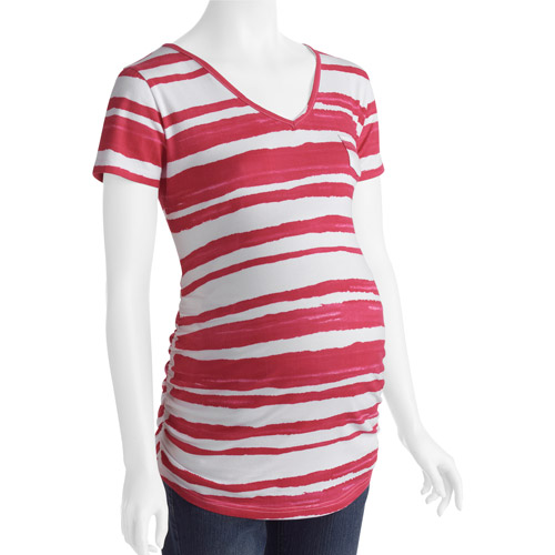 Planet Motherhood Maternity Watercolor Stripe V-Neck Pocket Tee with Flattering Side Ruching