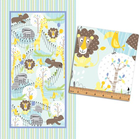 Zoo Baby Panel 23'' x 44 '' ~Chldren's Cotton Fabric by Bennartex