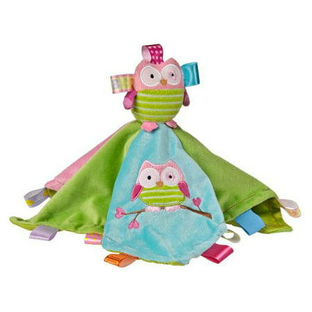 Taggies Character Blanket - Oodles Owl This product is modeled after the ultra popular interactive security objects that were created by a Mom! With tactile, developmental and visually stimulating features, Taggies enhance emotional well being, growth, and sense of security. Each Taggies Character Blanket is ultra-soft and features a friendly Mary Meyer character. The underside of each blanket is made of a smooth, silky material. This colorful satin lined blanket is just under 14 square with 19 Taggies ribbons. Machine wash.