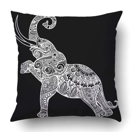 BOSDECO Stylized fantasy patterned elephant traditional oriental floral elements Pillowcase Throw Pillow Cover Case 18x18 inches - image 1 of 2