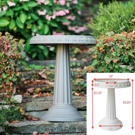 "Bloem Grecian Bird Bath with Pedestal 24"" x 19"" Peppercorn"