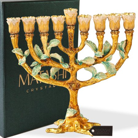 Hand Painted Enamel Menorah Candelabra with a Tree and Flower Buds Design and Embellished with Gold Accents and High Quality Crystals by Matashi