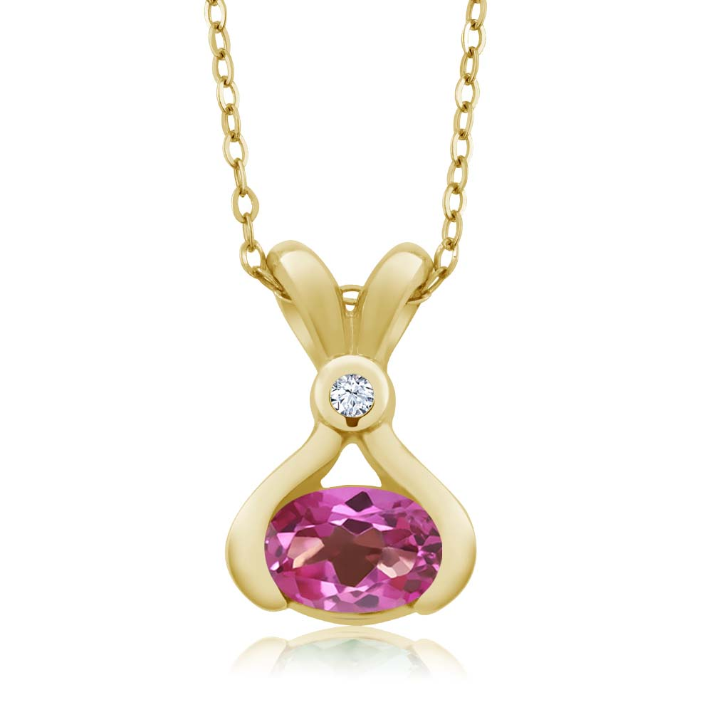0.99 Ct Oval Pink Mystic Topaz and White Topaz 14k Yellow Gold Pendant by