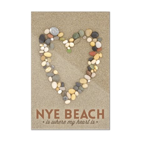 Nye Beach  Oregon Is Where My Heart Is   Stone Heart On Sand   Lantern Press Photograph  8X12 Acrylic Wall Art Gallery Quality