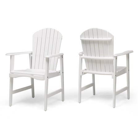 Easter Outdoor Weather Resistant Acacia Wood Adirondack Dining Chairs (Set of 2), White Finish ()
