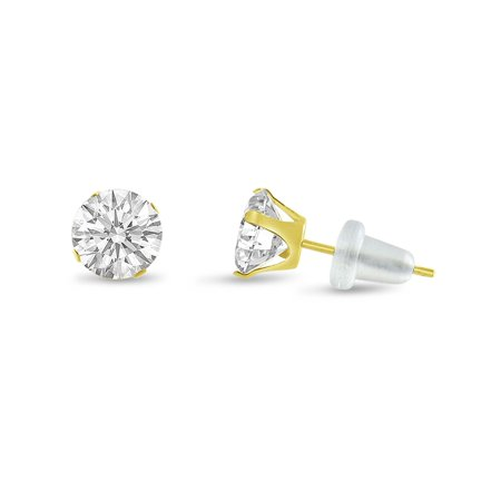 Ct Tw Polished Diamond Earrings (Round 5mm 10k Yellow Gold Genuine White Topaz Stud Earrings, April Birthstone, (1.12 cttw))