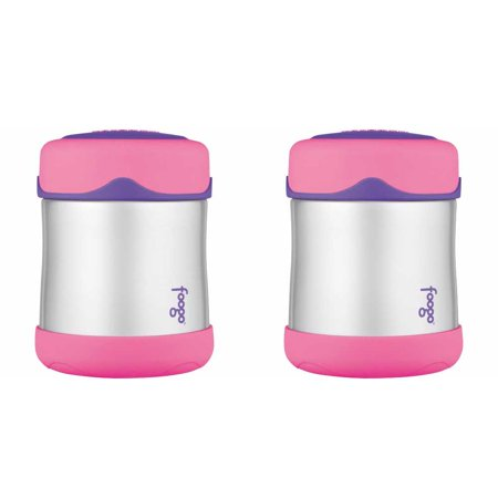 Thermos Foogo Leak-Proof Stainless Steel Food Jar, 10 Ounce - 2 Pack (Pink)