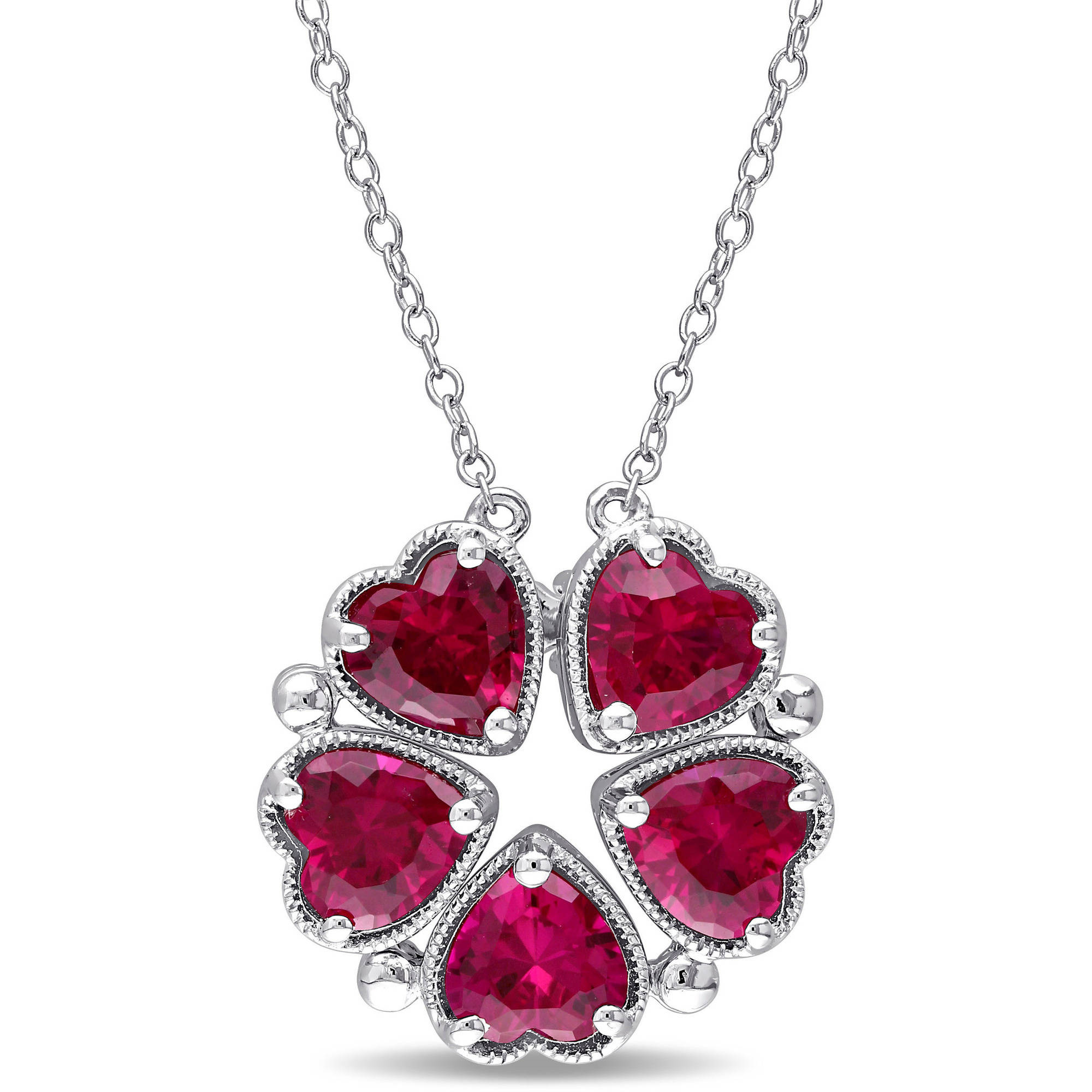 "Tangelo 5 Carat T.G.W. Created Ruby Sterling Silver Vintage Multi-Heart Necklace, 18"" by Tangelo"