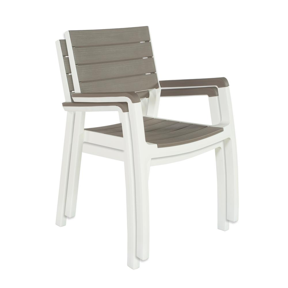 Keter Harmony White Cappuccino Modern Outdoor Patio Armchair Set Of