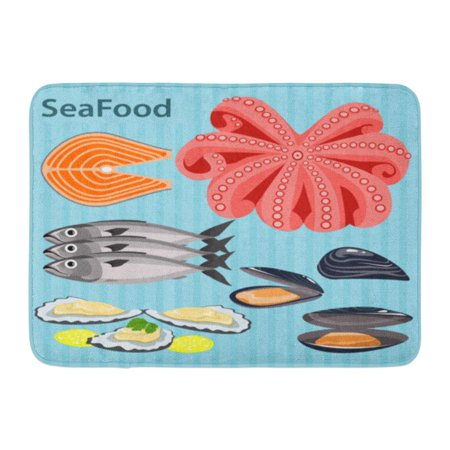 - GODPOK Sea Food Ingredients The Shells Oysters Mussels Lemon Fish Salmon Trout Tentacles Octopus Rug Doormat Bath Mat 23.6x15.7 inch