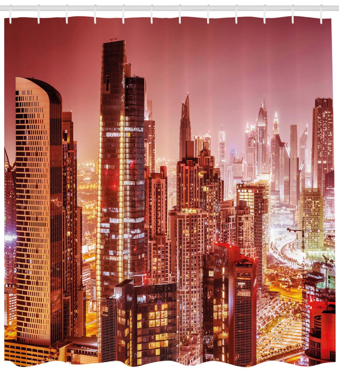 Cityscape Shower Curtain, Dubai At Night Cityscape With