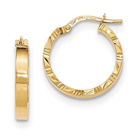Mens Las 14k Yellow Gold Polished D C Edge Hinged Hoop Earrings 15mm