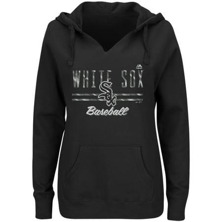 Chicago White Sox Majestic Women's Prepare to Dazzle V-Notch Pullover Hoodie - Black Chicago White Sox Sweatshirt