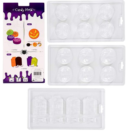 Halloween Jello Mold Recipes (Halloween Chocolate Candy Molds - 3-Pack Decorating Molds for Halloween Parties, Holiday Theme Molds for Chocolate, Gummy Candy, Jello, Assorted Designs Including Spider Web, Pumpkin,)