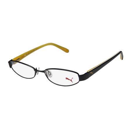 New Puma 15357 Pico Mens/Womens Cat Eye Full-Rim Black / Yellow Classic Shape Durable Cat Eye Frame Demo Lenses 50-16-135 Flexible Hinges Eyeglasses/Eyeglass Frame