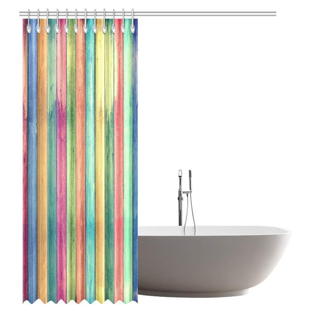 GCKG Vintage Colorful Wood Barn Door Shower Curtain Rural Wooden Garage Fabric Bathroom 66x72 Inches