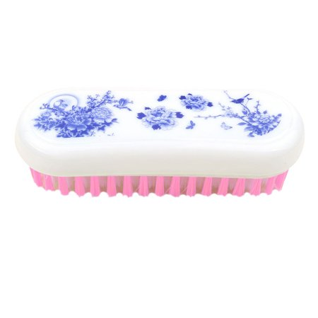 - Household Plastic Floral Pattern Oval Shaped Shoes Clothes Scrubbing Brush Pink