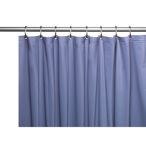 Premium 4 Gauge Vinyl Shower Curtain Liner w/ Weighted Magnets and Metal Grommets in Slate